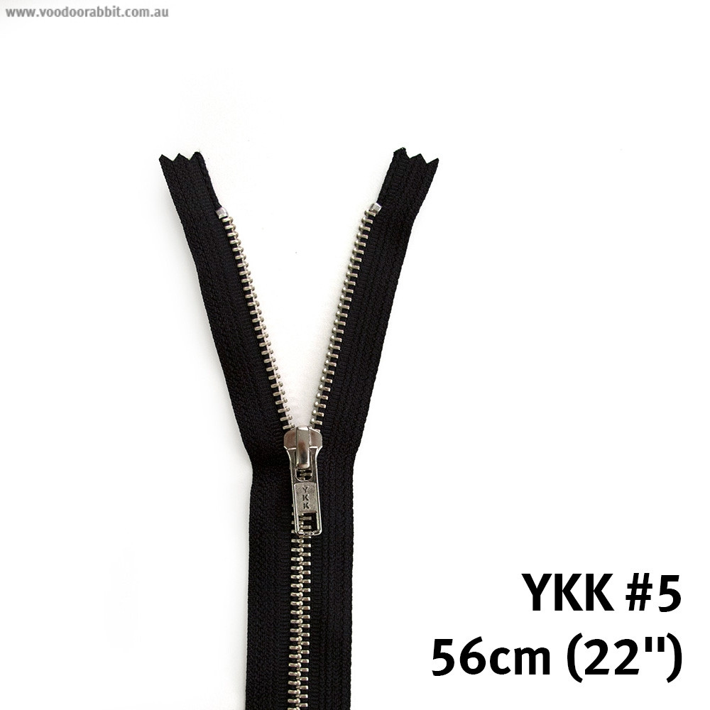 "Voodoo Bag Hardware YKK (Size #5) Closed End - Single Pull Metal Zipper 56cm (22"") Black"