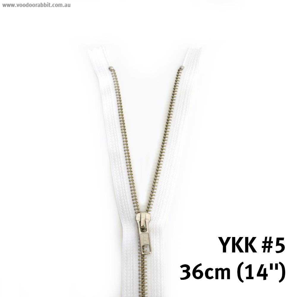 "Voodoo Bag Hardware YKK (Size #5) Closed End - Single Pull Metal Zipper 36cm (14"") White"