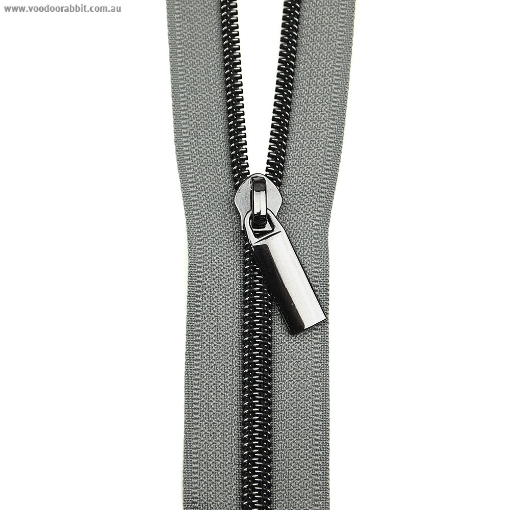 Sallie Tomato (Size #5) Zippers by the Yard Grey Tape Black Teeth - 3yd (2.74m)