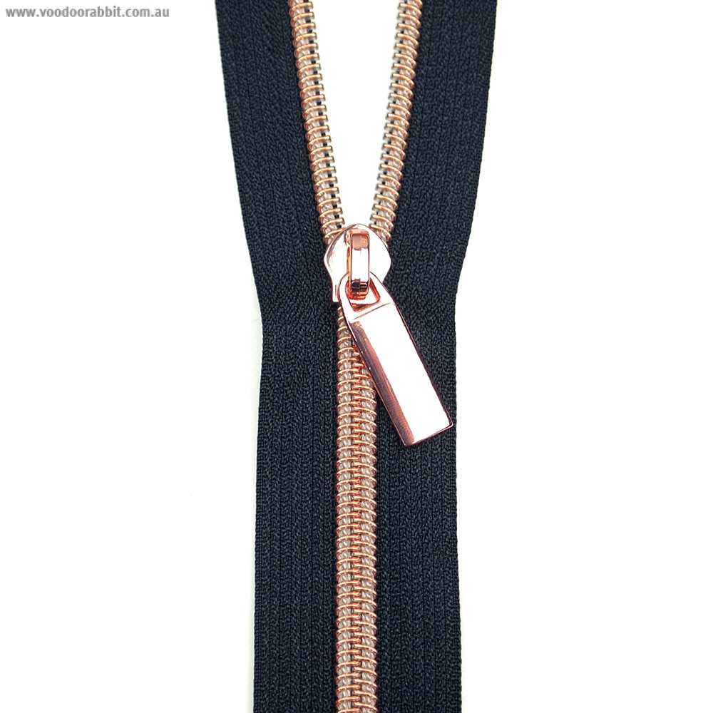 Sallie Tomato (Size #5) Zippers by the Yard Navy Tape Copper Teeth - 3yd (2.74m)