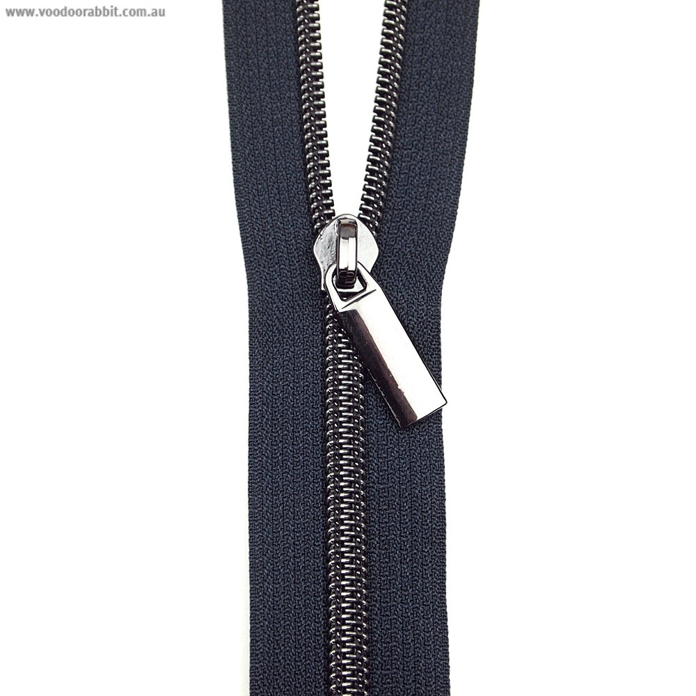Sallie Tomato (Size #5) Zippers by the Yard Navy Tape Black Teeth - 3yd (2.74m)