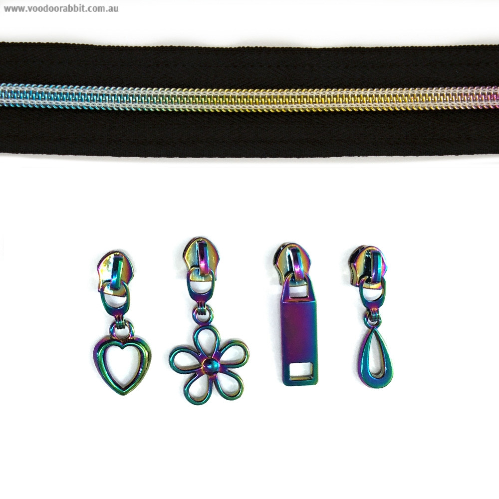"""Voodoo Bag Hardware (size #5) Zippers by the Meter Black Tape Iridescent Rainbow Teeth 3m (118"""") with 12 pulls - Mix Pack"""