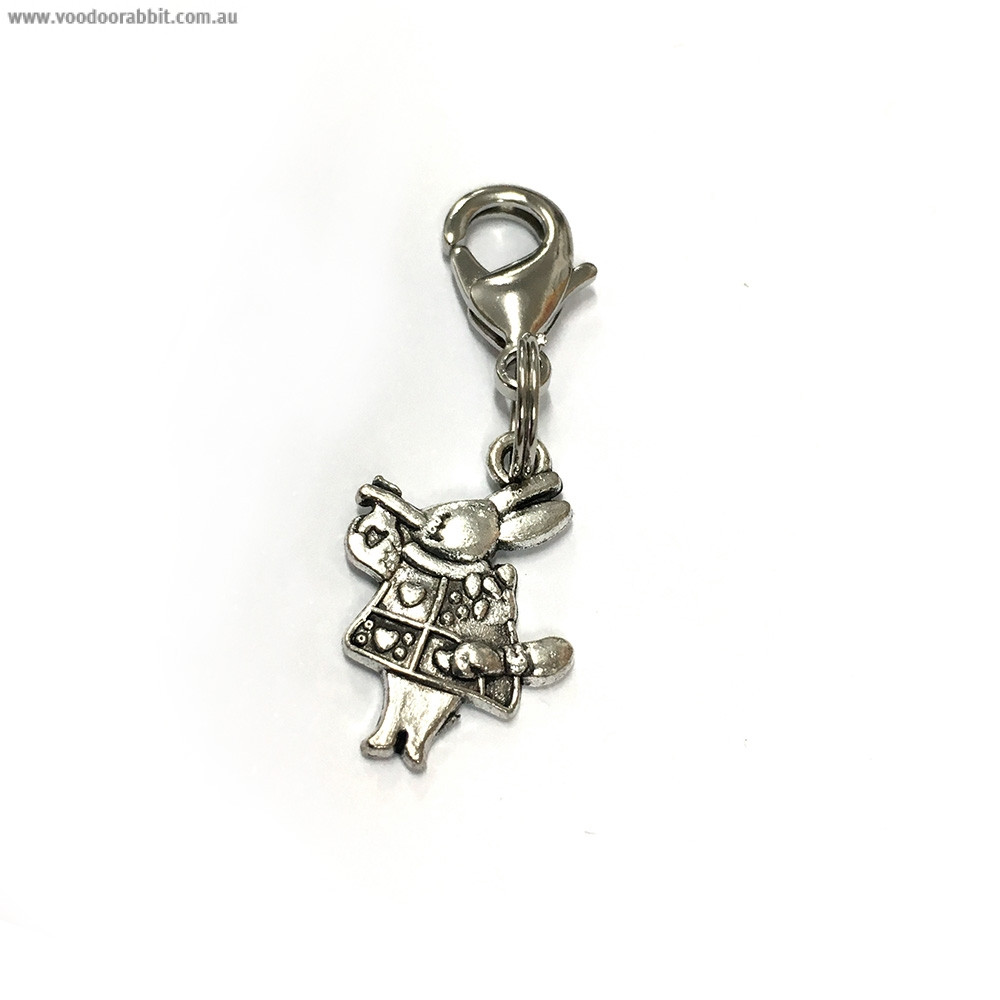 Voodoo Zipper Pull - White Rabbit Silver