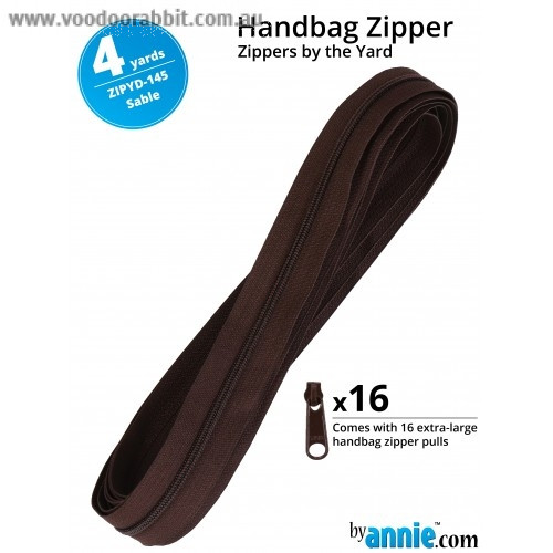 by Annie YKK Handbag Zippers by the Yard - 4yds (3.65m) Sable Brown