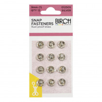 Birch Creative Press Studs - 9mm (size 1) - 12 sets Silver
