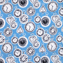 Wonderland Clocks Blue by Blend Fabric