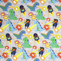 Monsters Vs Robots Meltdown Grey by Blend Fabric