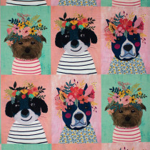 """Floral Pets Puppy Multi 12"""" Fabric Repeat by Blend Fabric"""