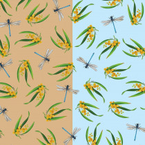 Wildlife Art Basics Wattles and Dragonflies Blue/Tan by Devonstone
