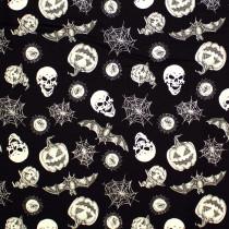 Hocus Pocus Halloween Tossed Halloween Motifs Black Glow in the Dark by Blank Quilting