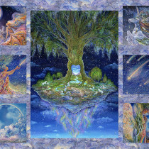 "Celestial Journey Tree 36.75"" (93cm) Fabric Panel Multi by 3 Wishes Fabric"
