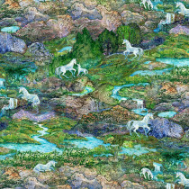 Celestial Journey Landscape Green by 3 Wishes Fabric