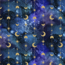 Magical Galaxy Stars & Moons Metallic Multi by 3 Wishes Fabric