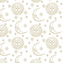 Magical Galaxy Sun & Moon Metallic White by 3 Wishes Fabric