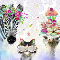 "Party Animals 22"" (56cm) Linear Panel by 3 Wishes Fabric"