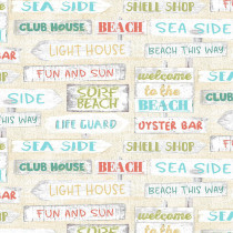 Beach Travel Signs Cream by 3 Wishes Fabric