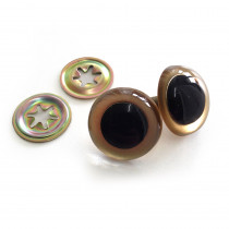 Toy Eyes Crystal - 21mm Gold - 10pk (5pairs)