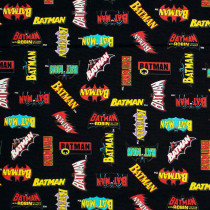 Batman 80 Anniversary Collection Batman Logo History Black by Camelot Fabrics
