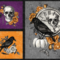 "Wicked Crow and Skull 24"" Fabric Panel Multi by Northcott"