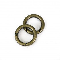 "Voodoo Bag Hardware Snap O-Ring 25mm (1"") Antique Brass - 2pk"
