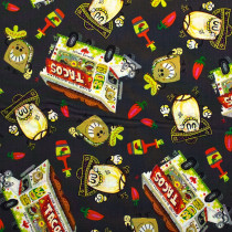 Hot Tamale Tossed Food Dark Grey by Quilting Treasures