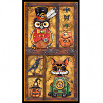 """Steampunk Halloween 60cm (24"""") Fabric Panel Antique Gold by Quilting Treasures"""