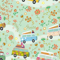 Road Trip Flower Power Vans Mint by Quilting Treasures