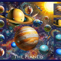 "Artworks XVIII Planets 91cm (36"") Fabric Panel by Quilting Treasures"