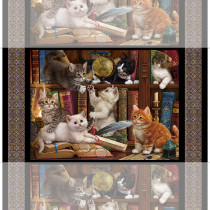 """Literary Kitties Fabric Panel (60cm) 24"""" by Quilting Treasures"""