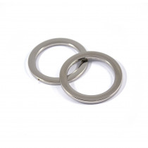 "Voodoo Bag Hardware Flat O-Rings 33mm (1-1/4"") Silver - 2pk"