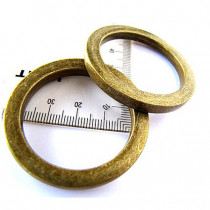 "Voodoo Bag Hardware Flat O-Rings 40mm (1-1/2"") Antique Brass - 2pk"