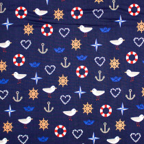 Season Living Sea Motifs Navy by Stof Fabrics