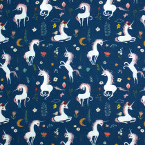 Mermaids and Unicorns Unicorns Blue by In the Beginning Fabric