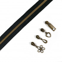"Voodoo Bag Hardware (Size #5) Handbag Zipper Black Tape with Antique Brass Teeth 3m (157"") with 12 pulls - Mix Pack"