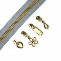 "Voodoo Bag Hardware (Size #5) Handbag Zipper Grey Tape with Gold Teeth 3m (157"") with 12 pulls - Mix Pack"