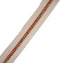 "Voodoo Bag Hardware (Size #5) Handbag Zipper Natural Tape with Copper Teeth 3m (157"") No Pulls"