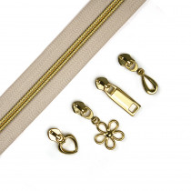 "Voodoo Bag Hardware (Size #5) Handbag Zipper Natural Tape with Gold Teeth 3m (157"") with 12 pulls - Mix Pack"
