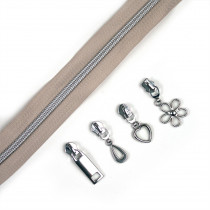 "Voodoo Bag Hardware (Size #5) Handbag Zipper Natural Tape with Silver Teeth 3m (157"") with 12 pulls - Mix Pack"