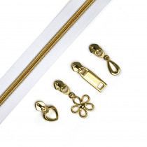 "Voodoo Bag Hardware (Size #5) Handbag Zipper White Tape with Gold Teeth 3m (157"") with 12 pulls - Mix Pack"