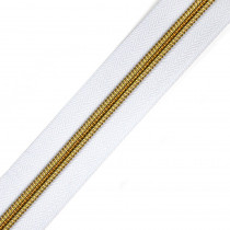 "Voodoo Bag Hardware (Size #5) Handbag Zipper White Tape with Gold Teeth 3m (157"") No Pulls"