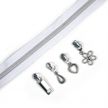 "Voodoo Bag Hardware (Size #5) Handbag Zipper White Tape with Silver Teeth 3m (157"") with 12 pulls - Mix Pack"
