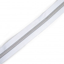 "Voodoo Bag Hardware (Size #5) Handbag Zipper White Tape with Silver Teeth 3m (157"") No Pulls"