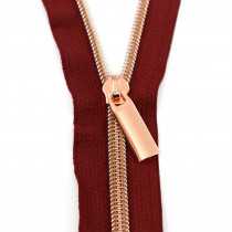 Sallie Tomato (Size #5) Zippers by the Yard Burgundy Red Tape Copper Teeth - 3yd (2.74m)