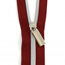 Sallie Tomato (Size #5) Zippers by the Yard Burgundy Red Tape Silver Teeth - 3yd (2.74m)