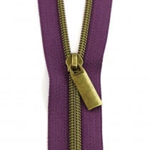 Sallie Tomato (Size #5) Zippers by the Yard Purple Tape Antique Brass Teeth - 3yd (2.74m)