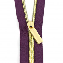 Sallie Tomato (Size #5) Zippers by the Yard Purple Tape Gold Teeth - 3yd (2.74m)