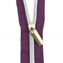 Sallie Tomato (Size #5) Zippers by the Yard Purple Tape Silver Teeth - 3yd (2.74m)