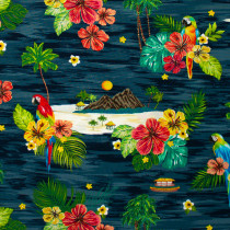 Isla Scene Ocean Dark Blue by Windham Fabric