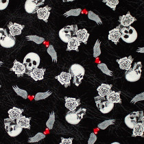 Born to Ride Skull Tattoo Black by Windham Fabric