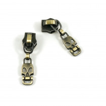 Emmaline Bags #5 Zipper Sliders with Skull Drop Pull (10 pk) Antique Brass